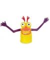 Vingerpopje geel/paars monster 5 cm